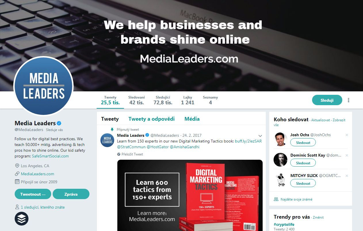 Twitter: Odkazy na profilu marketingové agentury Media Leaders